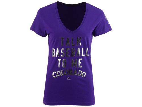 Colorado Rockies Purple Majestic Mlb Women 39 S Talk Baseball