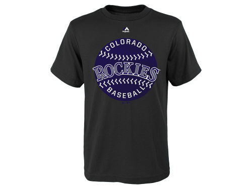 Colorado Rockies Black Majestic Mlb Youth Electric Ball T