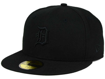 Detroit Tigers MLB Black on Black Fashion 59FIFTY Cap Hats