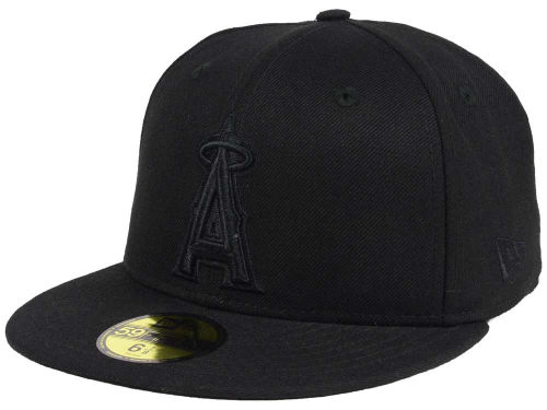 Los Angeles Angels of Anaheim New Era MLB Black on Black Fashion 59FIFTY Cap Hats
