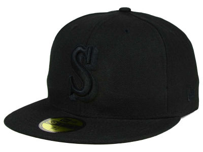 Seattle Mariners MLB Black on Black Fashion 59FIFTY Cap Hats