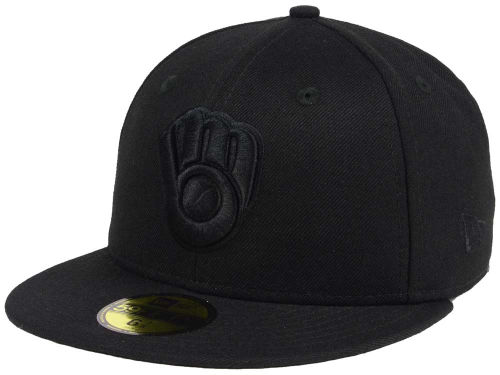 Milwaukee Brewers New Era MLB Black on Black Fashion 59FIFTY Cap Hats