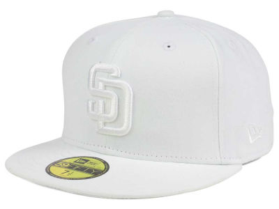 San Diego Padres MLB White on White Fashion 59FIFTY Cap Hats