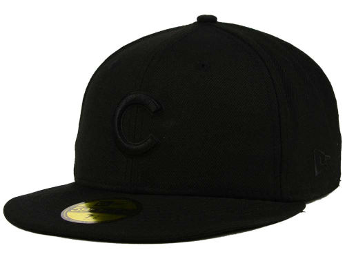 Chicago Cubs New Era MLB Black on Black Fashion 59FIFTY Cap Hats
