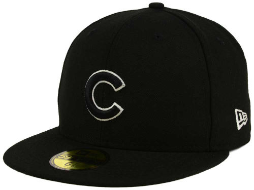 Chicago Cubs New Era MLB Black and White Fashion 59FIFTY Cap Hats