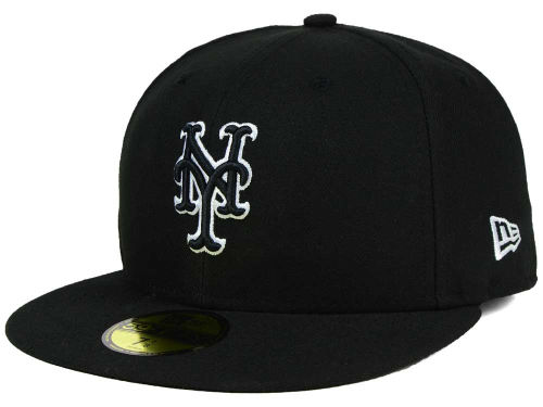 New York Mets New Era MLB Black and White Fashion 59FIFTY Cap Hats