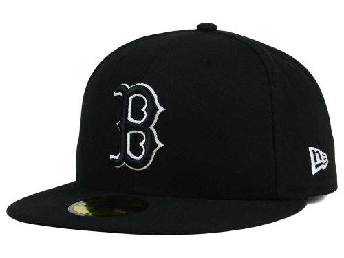 Boston Red Sox New Era MLB Black and White Fashion 59FIFTY Cap Hats