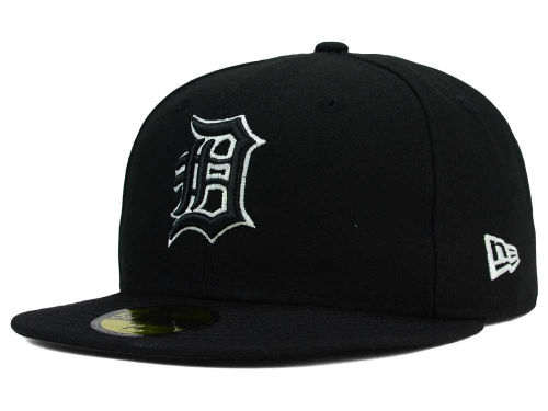 Detroit Tigers New Era MLB Black and White Fashion 59FIFTY Cap Hats