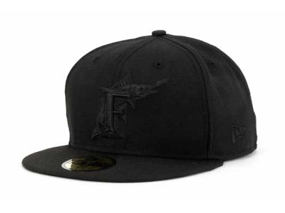 Florida Marlins MLB Black on Black Fashion 59FIFTY Cap Hats
