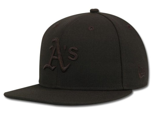 Oakland Athletics New Era MLB Black on Black Fashion 59FIFTY Hats