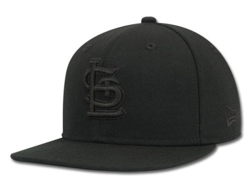St. Louis Cardinals New Era MLB Black on Black Fashion 59FIFTY Cap Hats