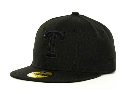 Texas Rangers New Era MLB Black on Black Fashion 59FIFTY Cap Hats