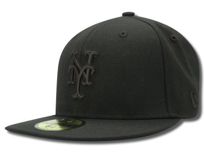 New York Mets MLB Black on Black Fashion 59FIFTY Hats