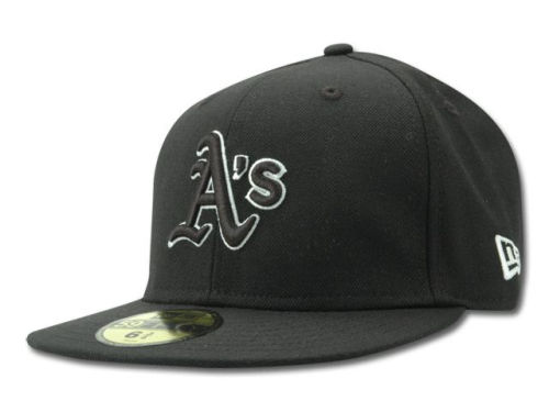 Oakland Athletics New Era MLB Black and White Fashion 59FIFTY Hats