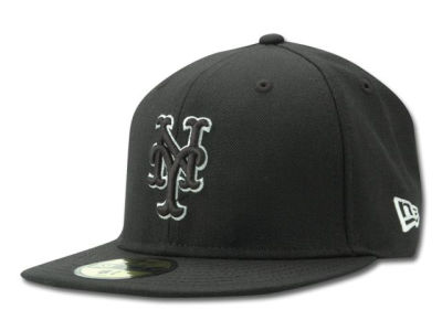 New York Mets MLB Black and White Fashion 59FIFTY Hats
