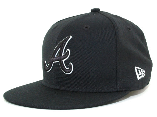 Atlanta Braves New Era MLB Black and White Fashion 59FIFTY Hats