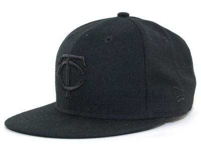 Minnesota Twins MLB Black on Black Fashion 59FIFTY Hats