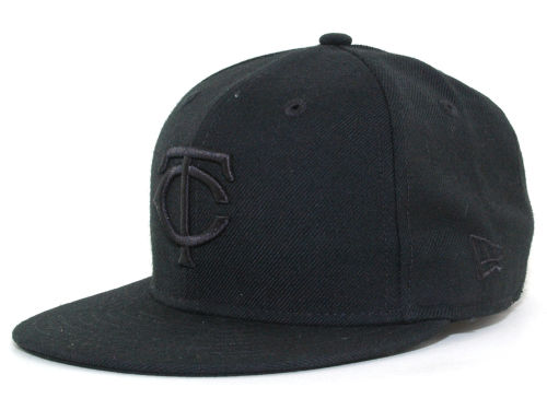 Minnesota Twins New Era MLB Black on Black Fashion 59FIFTY Cap Hats