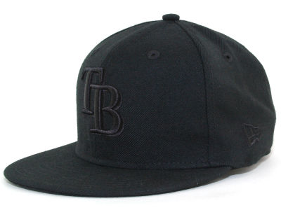 Tampa Bay Rays MLB Black on Black Fashion 59FIFTY Hats