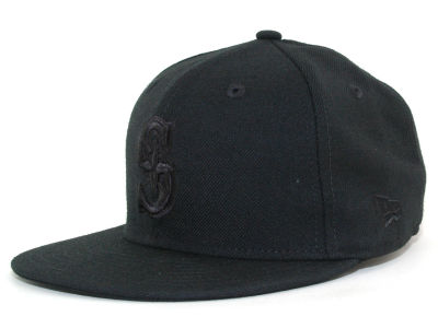 Seattle Mariners MLB Black on Black Fashion 59FIFTY Hats