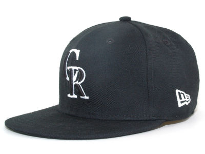 Colorado Rockies MLB Black and White Fashion 59FIFTY Hats