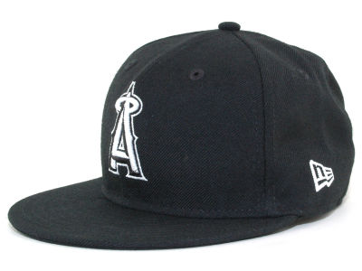 Los Angeles Angels MLB Black and White Fashion 59FIFTY Cap Hats