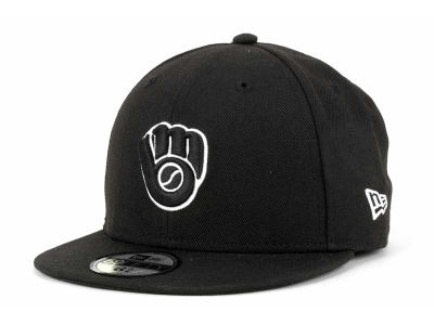 Milwaukee Brewers MLB Black and White Fashion 59FIFTY Cap Hats