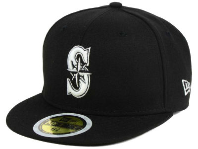 Seattle Mariners MLB Black and White Fashion 59FIFTY Hats