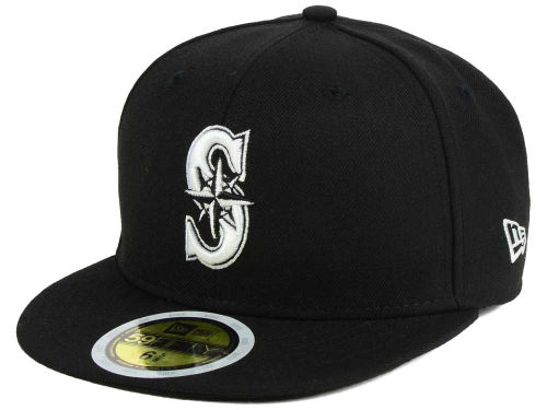 Seattle Mariners New Era MLB Black and White Fashion 59FIFTY Hats
