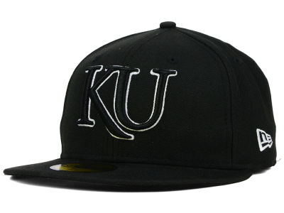 Kansas Jayhawks NCAA Black on Black with White 59FIFTY Cap Hats
