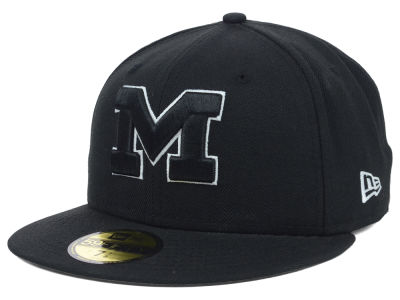 Michigan Wolverines NCAA Black on Black with White 59FIFTY Cap Hats