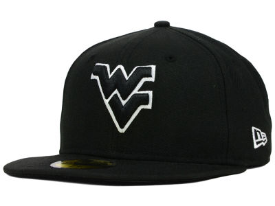 West Virginia Mountaineers NCAA Black on Black with White 59FIFTY Cap Hats