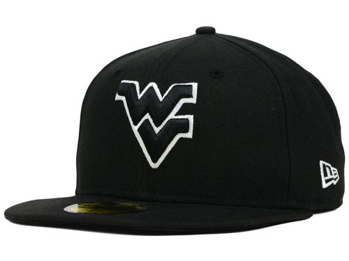 West Virginia Mountaineers New Era NCAA Black on Black with White 59FIFTY Cap Hats