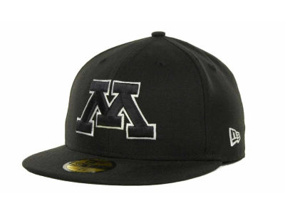 Minnesota Golden Gophers NCAA Black on Black with White 59FIFTY Cap Hats