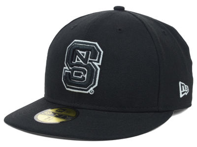 North Carolina State Wolfpack NCAA Black on Black with White 59FIFTY Cap Hats
