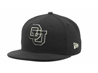Colorado Buffaloes NCAA Black on Black with White 59FIFTY Hats