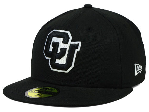 Colorado Buffaloes New Era NCAA Black on Black with White 59FIFTY Cap Hats