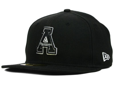 Appalachian State Mountaineers NCAA Black on Black with White 59FIFTY Cap Hats