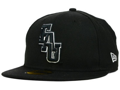 Florida Atlantic Owls NCAA Black on Black with White 59FIFTY Cap Hats