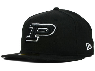 Purdue Boilermakers NCAA Black on Black with White 59FIFTY Cap Hats