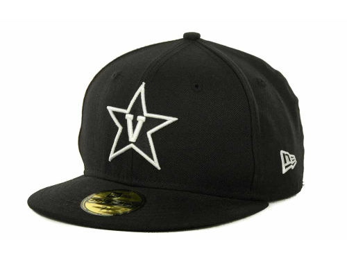 Vanderbilt Commodores New Era NCAA Black on Black with White 59FIFTY Cap Hats
