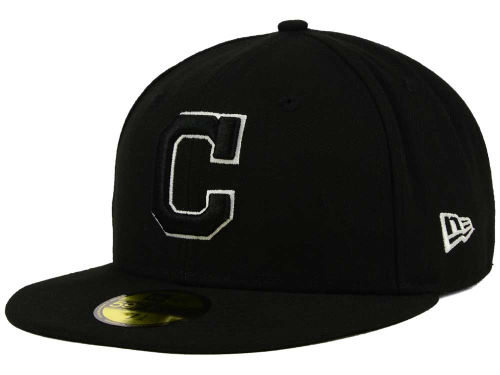 Cleveland Indians New Era MLB Black and White Fashion 59FIFTY Cap Hats