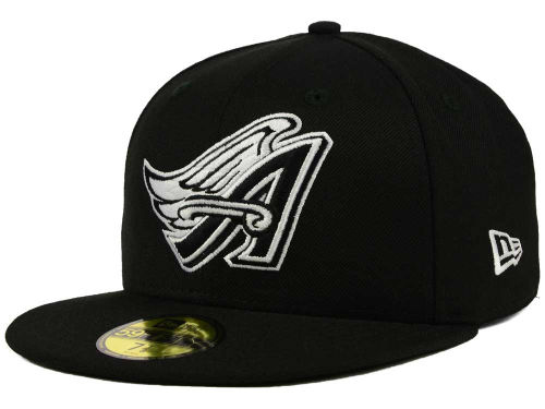 Los Angeles Angels New Era MLB Black and White Fashion 59FIFTY Cap Hats