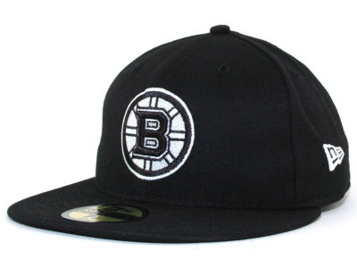 Boston Bruins NHL Black and White 59FIFTY Cap Hats