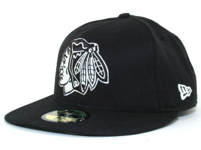 Chicago Blackhawks NHL Black and White 59FIFTY Hats
