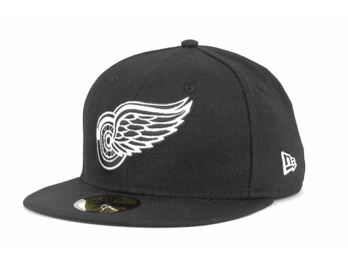Detroit Red Wings New Era NHL Black and White 59FIFTY Cap Hats