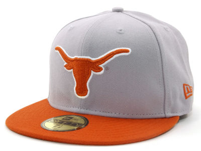 Texas Longhorns NCAA 2 Tone Light Gray/Team Color 59FIFTY Hats