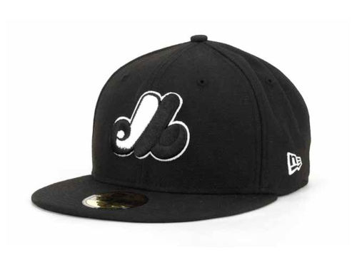 Montreal Expos New Era MLB Black and White Fashion 59FIFTY Cap Hats