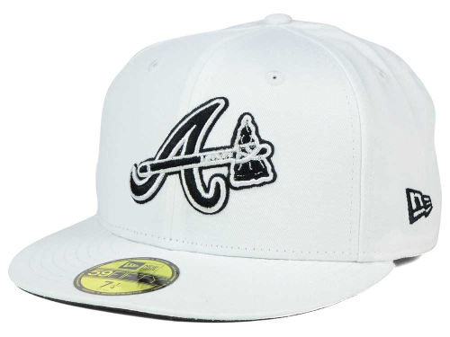 Atlanta Braves New Era MLB White And Black 59FIFTY Hats