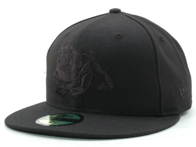 Fresno State Bulldogs NCAA Black on Black 59FIFTY Hats